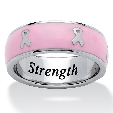 """Serenity, Courage and Strength"" Breast Cancer Awareness Inscribed Eternity Band in Pink Enamel and Stainless Steel at PalmBeach Jewelry"