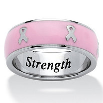 """Serenity, Courage and Strength"" Breast Cancer Awareness Ribbon Inscribed Eternity Band in Pink Enamel and Stainless Steel"