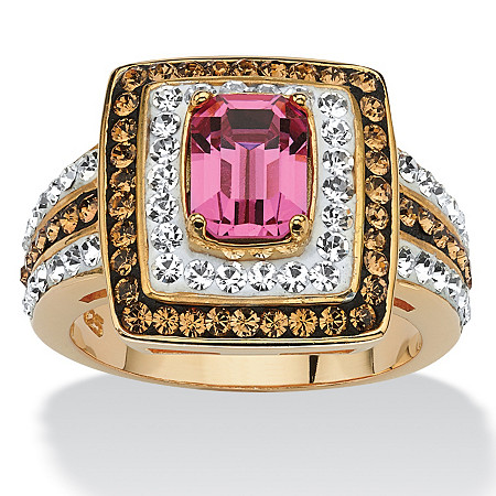 Emerald-Cut Fuschia Crystal Cocktail Ring MADE WITH SWAROVSKI ELEMENTS 18k Gold over Sterling Silver at PalmBeach Jewelry