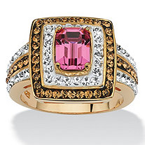 Emerald-Cut Fuschia Crystal Cocktail Ring MADE WITH SWAROVSKI ELEMENTS 18k Gold over Sterling Silver