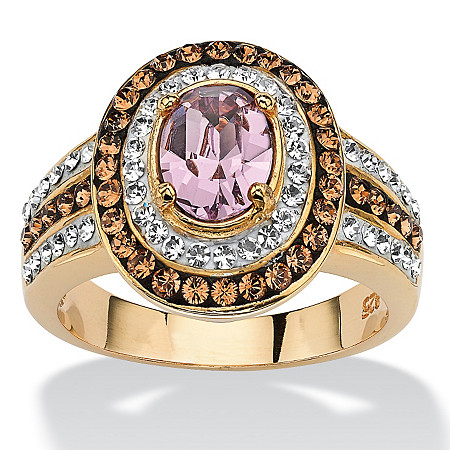 Oval-Cut Violet Crystal Cocktail Ring MADE WITH SWAROVSKI ELEMENTS 18k Gold over Sterling Silver at PalmBeach Jewelry