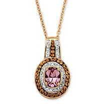 SETA JEWELRY Oval-Cut Violet Crystal Pendant Necklace MADE WITH SWAROVSKI ELEMENTS 18k Gold over Sterling Silver