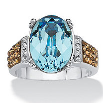 Oval-Cut Aqua Blue Crystal Cocktail Ring MADE WITH SWAROVSKI ELEMENTS in Platinum over Sterling Silver