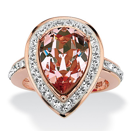 Pear-Cut Rose Crystal Cocktail Ring MADE WITH SWAROVSKI ELEMENTS in Rose Gold over Sterling Silver at PalmBeach Jewelry