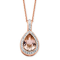 Pear-Cut Rose Crystal Halo Necklace MADE WITH SWAROVSKI ELEMENTS in Rose Gold over Sterling Silver 18""