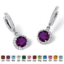 Round Birthstone Huggie-Hoop Halo Drop Earrings in Silvertone