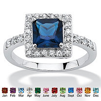 Princess-Cut Birthstone Halo Ring in .925 Sterling Silver