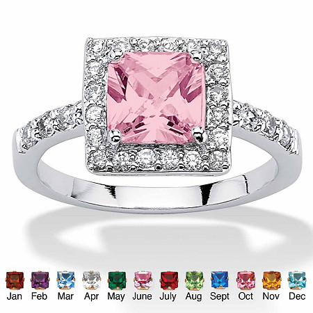 Princess-Cut Birthstone Halo Ring in .925 Sterling Silver at PalmBeach Jewelry