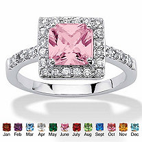 Princess-Cut Simulated Birthstone Halo Ring in .925 Sterling Silver