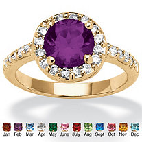Round Birthstone and Cubic Zirconia Ring In Yellow Gold Tone