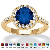 Round Birthstone and Cubic Zirconia Halo Ring In Yellow Gold Tone