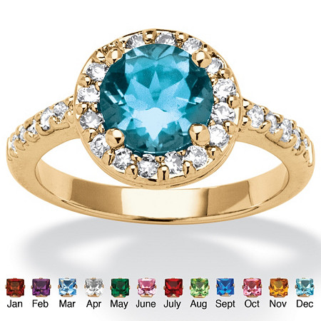 Round Birthstone and Cubic Zirconia Ring In Yellow Gold Tone at PalmBeach Jewelry