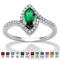 Marquise-Cut Birthstone and Cubic Zirconia Ring in .925 Sterling Silver