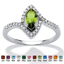 SETA JEWELRY Marquise-Cut Birthstone and Cubic Zirconia Ring in .925 Sterling Silver