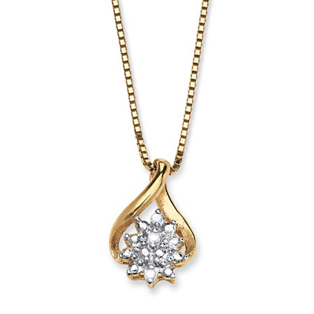 Diamond Accented Cluster Pendant Necklace in 18k Gold over Sterling Silver at PalmBeach Jewelry