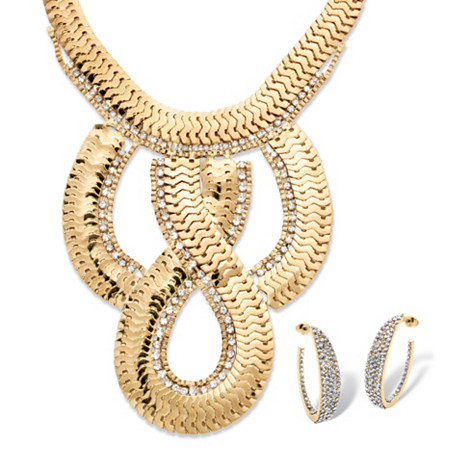 Dramatic Flat-Link Necklace and Earrings Two-Piece Set in Yellow Gold Tone at PalmBeach Jewelry