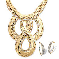 Dramatic Flat-Link Necklace and Earrings Two-Piece Set in Yellow Gold Tone
