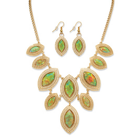 Marquise-Shaped Simulated Rainbow Abalone Necklace and Earrings Set in Yellow Gold Tone at PalmBeach Jewelry