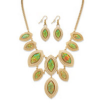 Marquise-Shaped Simulated Rainbow Abalone Necklace and Earrings Set in Yellow Gold Tone