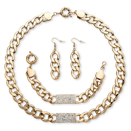 3-Piece Curb-Link Crystal I.D. Necklace, Bracelet And Drop Earrings Set in Yellow Gold Tone at PalmBeach Jewelry