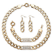 3-Piece Curb-Link Crystal I.D. Necklace, Bracelet And Drop Earrings Set in Yellow Gold Tone