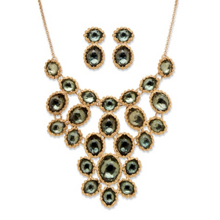 Green Crystal Necklace and Earrings 2-Piece Set In Yellow Gold Tone at PalmBeach Jewelry