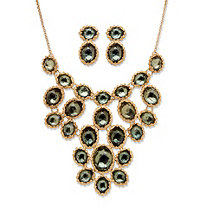 Green Crystal Necklace and Earrings 2-Piece Set In Yellow Gold Tone