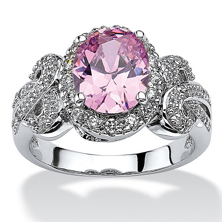 2.78 TCW Oval-Cut Pink Cubic Zirconia Bow Ring in Silvertone at PalmBeach Jewelry