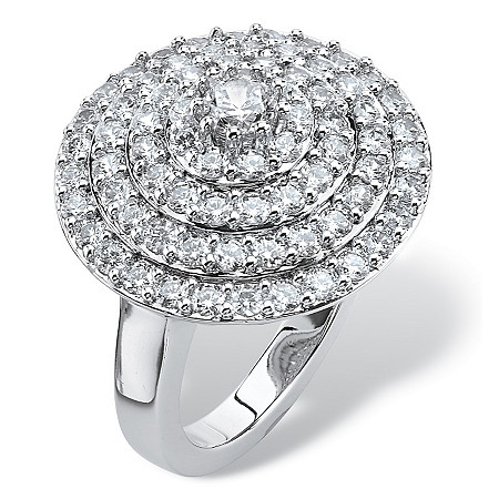 2.13 TCW Round Cubic Zirconia Concentric Circle Ring in Silvertone at PalmBeach Jewelry