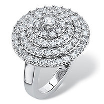 2.13 TCW Round Cubic Zirconia Concentric Circle Ring in Silvertone