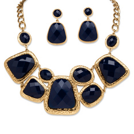 Navy Geometric Two-Piece Necklace and Earrings Set in Yellow Gold Tone at PalmBeach Jewelry