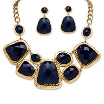 Navy Geometric Two-Piece Necklace and Earrings Set in Yellow Gold Tone