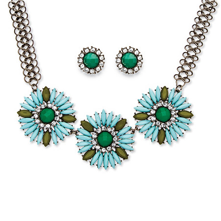 2 Piece Sky Blue Crystal Flower Necklace and Earrings Set in Black Rhodium-Plated at PalmBeach Jewelry