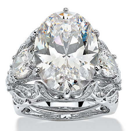 15.78 Oval-Cut Cubic Zirconia Platinum-Plated 3-Piece Bridal Ring Set at PalmBeach Jewelry