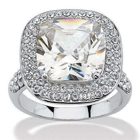 3.80 TCW Cushion Cut Cubic Zirconia Double Halo Ring in Platinum Plated at PalmBeach Jewelry
