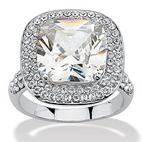 3.80 TCW Cushion Cut Cubic Zirconia Double Halo Ring in Platinum Plated