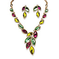 Citris, Mint and Plum Marquise Crystal Leaf Necklace and Earrings Set in Yellow Gold Tone