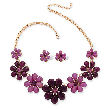 Plum and Lavender Crystal Flower Necklace and Earrings Set in Yellow Gold Tone at PalmBeach Jewelry