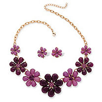 Plum and Lavender Crystal Flower Necklace and Earrings Set in Yellow Gold Tone