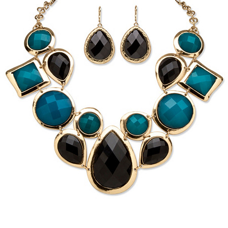 Black and Teal Geometric Necklace and Earrings Set in Yellow Gold Tone at PalmBeach Jewelry