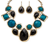 SETA JEWELRY Black and Teal Geometric Necklace and Earrings Set in Yellow Gold Tone