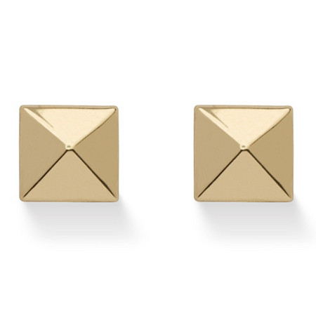 Pyramid Stud Earrings in Hollow 14k Yellow Gold at PalmBeach Jewelry