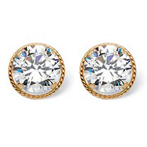 4 TCW Round Martini-Set Cubic Zirconia Halo Stud Earrings in 14k Gold
