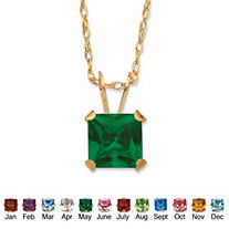 Princess-Cut Birthstone Pendant Necklace in 10k Yellow Gold 18""