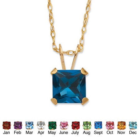 Princess-Cut Birthstone Pendant Necklace in 10k Gold at PalmBeach Jewelry