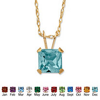 Princess-Cut Simulated Birthstone Pendant Necklace in 10k Yellow Gold 18""