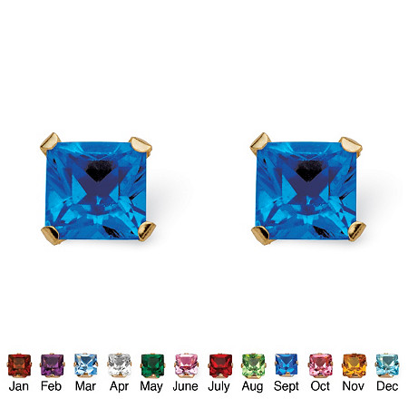 Princess-Cut Simulated Birthstone Birthstone Stud Earrings in 10k Gold at PalmBeach Jewelry