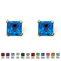 Princess-Cut Simulated Birthstone Stud Earrings in 10k Gold