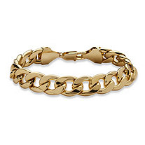 "Men's Curb-Link Chain Bracelet in Yellow Gold Tone 11"" (15mm)"