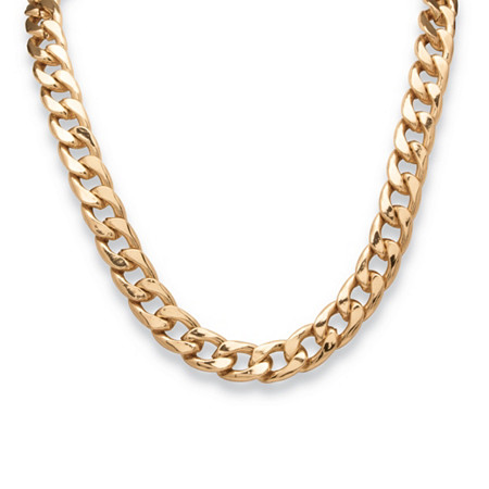 Men's Curb-Link Chain Necklace in Yellow Gold Tone 24